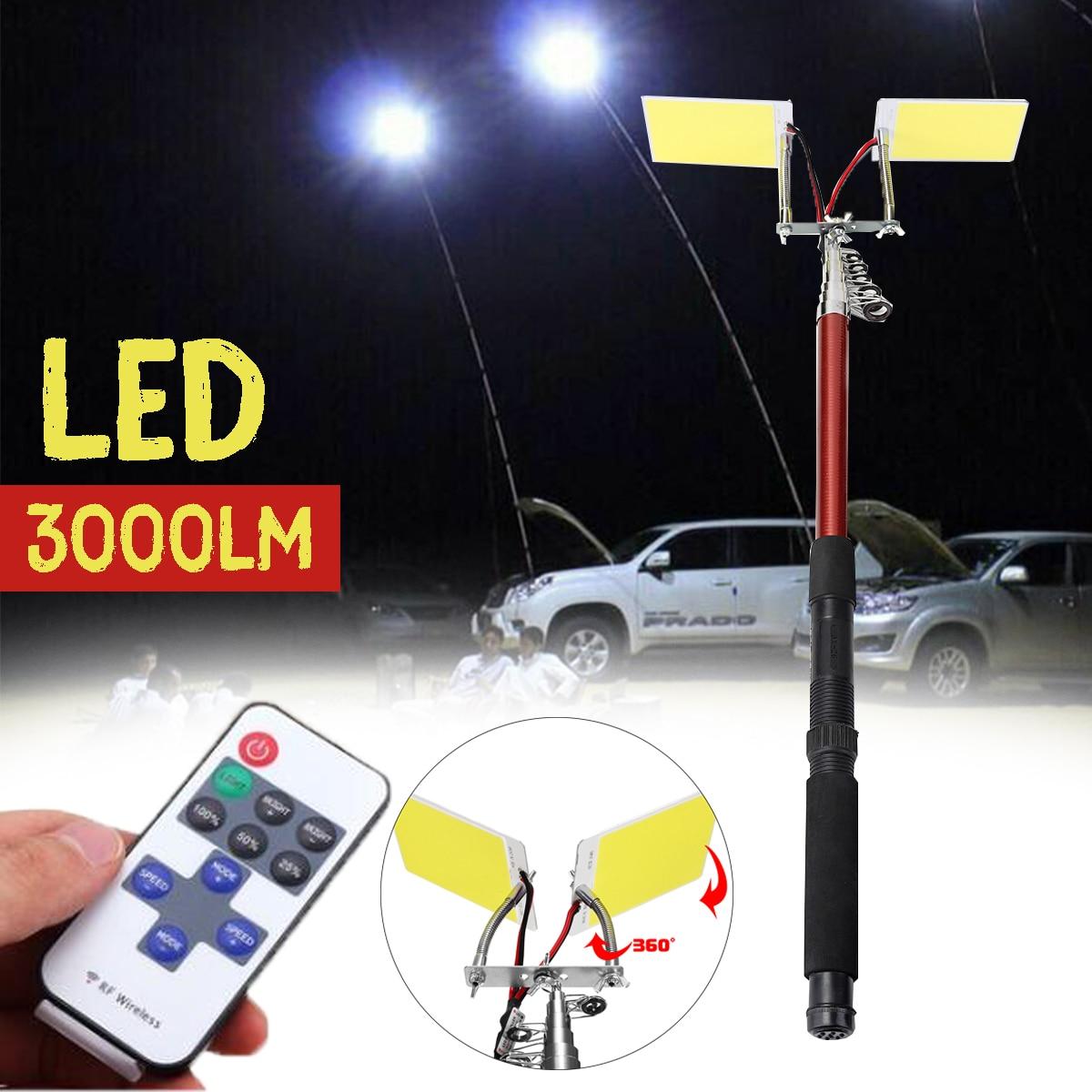 3.75 M 12 V télescopique LED canne à pêche lanterne extérieure télécommande Camping lampe lumière pour voyage sur route auto-entraînement voyage