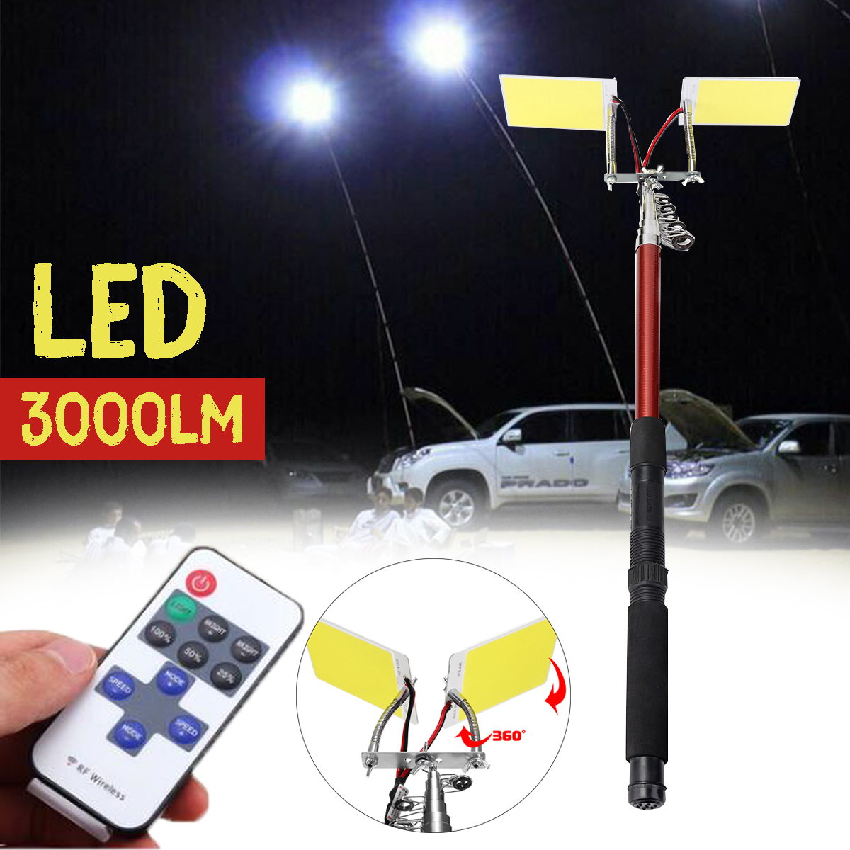 3.75M 12V Telescopic LED Fishing Rod Outdoor Lantern Remote Control Camping Lamp Light For Road Trip Self-drive Travelling