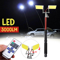 3.75M 12V Telescopic LED Fishing Rod Outdoor Lantern Remote Control Camping Lamp Light for Road Trip Self drive Travelling