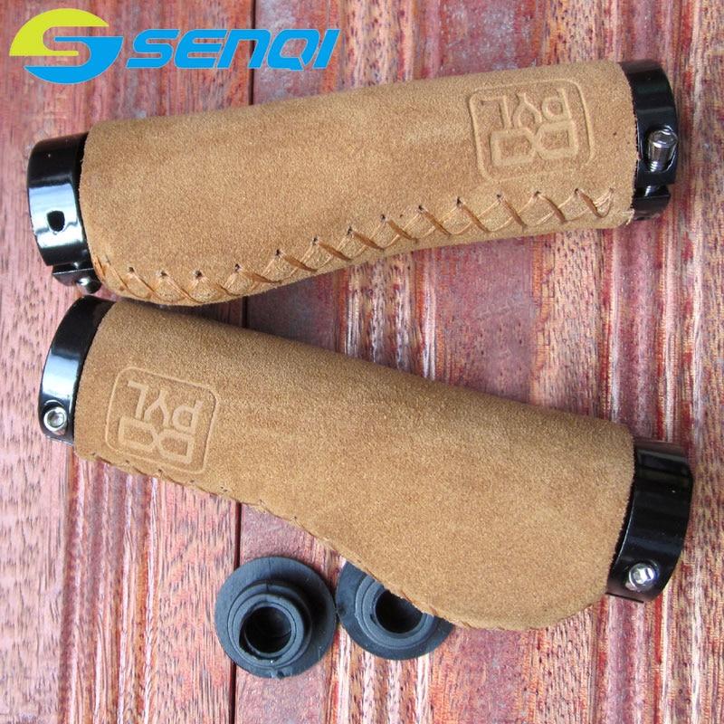 Retro Bicycle Genuine Leather Handlebar <font><b>Grips</b></font> Mountain Bike Folding Bike Fixed Gear Anti-chorionic Cowhide Handle <font><b>Grips</b></font>