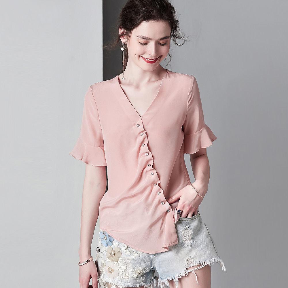100% seide Crepe Shirt Reine Seide Crepe Blusen Frauen Shirts Büro Dame Shirts Neue Frühling und Sommer Stil - 5