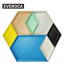 Scandinavian Stainless Steel Plate Geometric Series Diamond Shaped Combo Tray Creative Metal Breakfast Dish