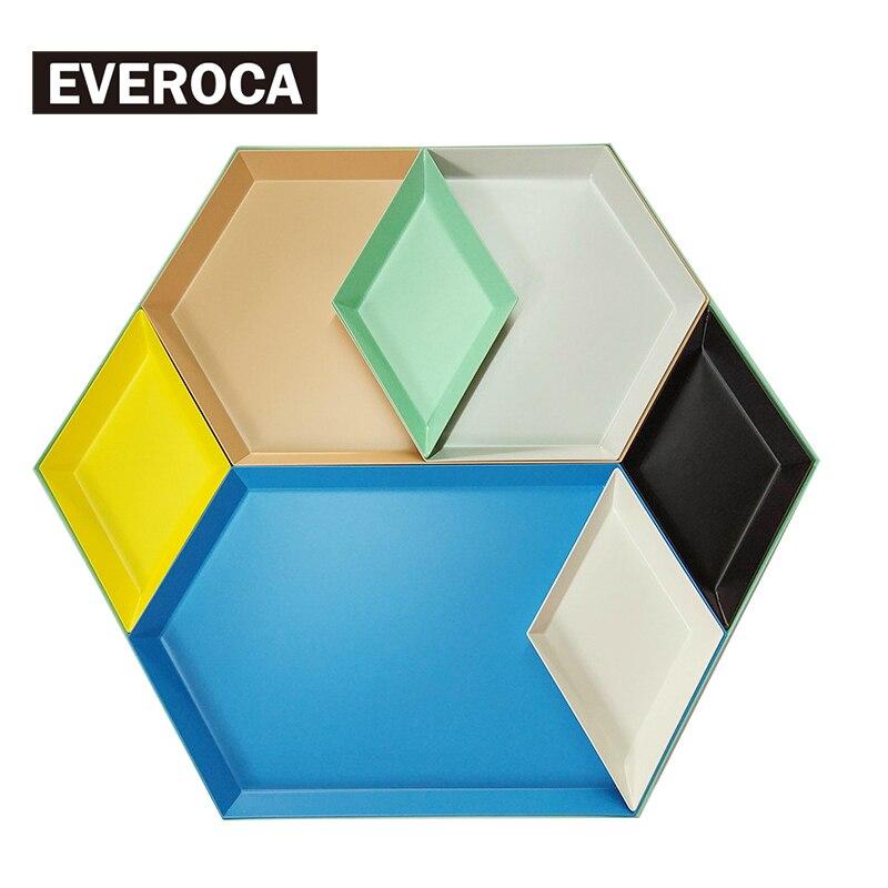 Skandinavischen Edelstahl Platte Geometrische Serie Diamant Geformt Combo Tablett Kreative Metall Frühstück Gericht