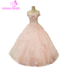 Evening Party Dress With Stones Dubai Prom Gown Lace Flowers 3d Crystal Beaded off the Shoulder Pink Dresses