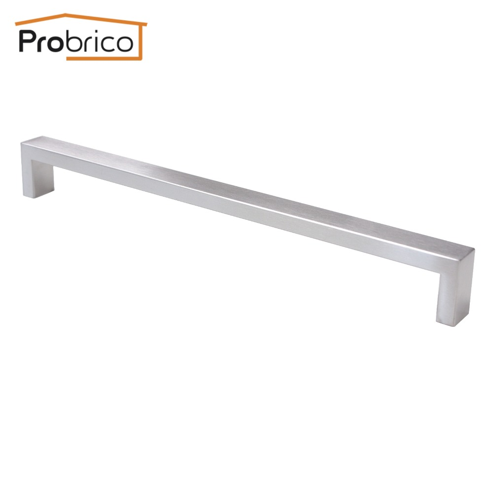Probrico Cabinet Door Handle Square Bar Size 10mm*20mm Stainless Steel Hole Space 288mm Furniture Drawer Pull Knob PDDJ30HSS288 2pcs set stainless steel 90 degree self closing cabinet closet door hinges home roomfurniture hardware accessories supply