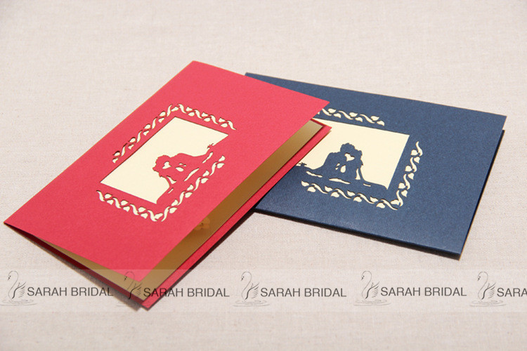 Red Blue 3d Handmade Wedding Invitation Cards Marvelous