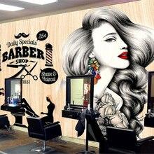Papel pintado personalizado Beibehang, salón de peluquería, pared de peluquería, tienda de peluquero, decoración de maquillaje Vintage, papel tapiz 3d, mural