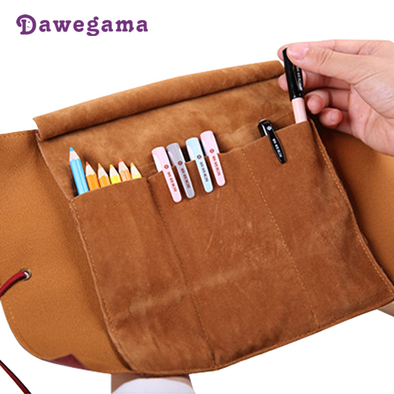 Dawegama Roll School Pencil Case Leather Pen Bag for Gift Large Pencilcase Box Stationery Pirate Sailing Sea in Pencil Cases from Office School Supplies