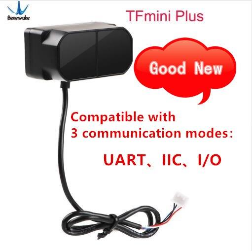 Benewake tfmini mais módulo de lidar, ip65 micro único ponto tof sensor de distância curta compatível com ambos uart iic i/o