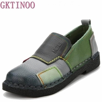 2017 Fashion Women Shoes Genuine Leather Loafers Women Mixed Colors Casual shoes Handmade Soft Comfortable Shoes Women Flats