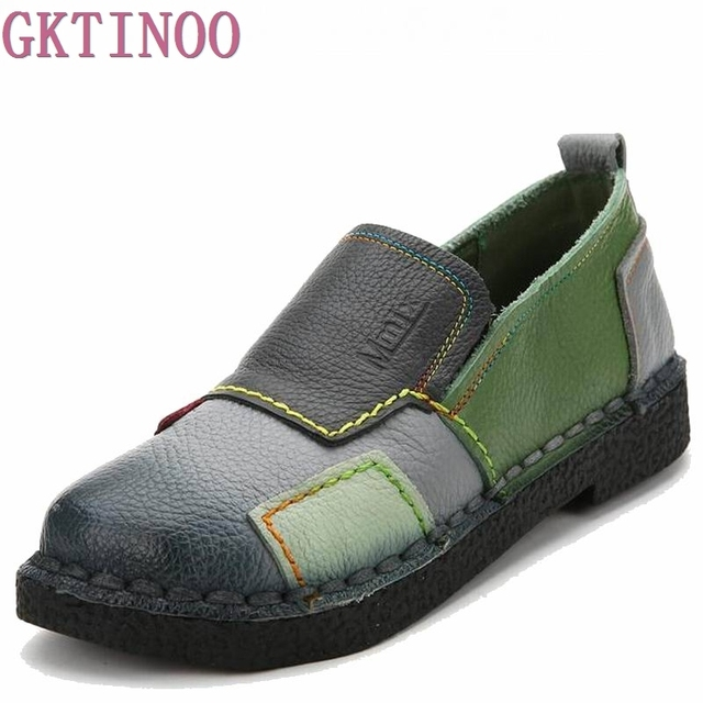 2019 Fashion Women Shoes Genuine Leather Loafers Women Mixed Colors Casual shoes Handmade Soft Comfortable Shoes Women Flats