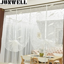 Junwell White Embroidery Bird Ribbon Roman Curtain Design Stitching Colors Tulle Balcony Kitchen Window Curtain Blind 1pc