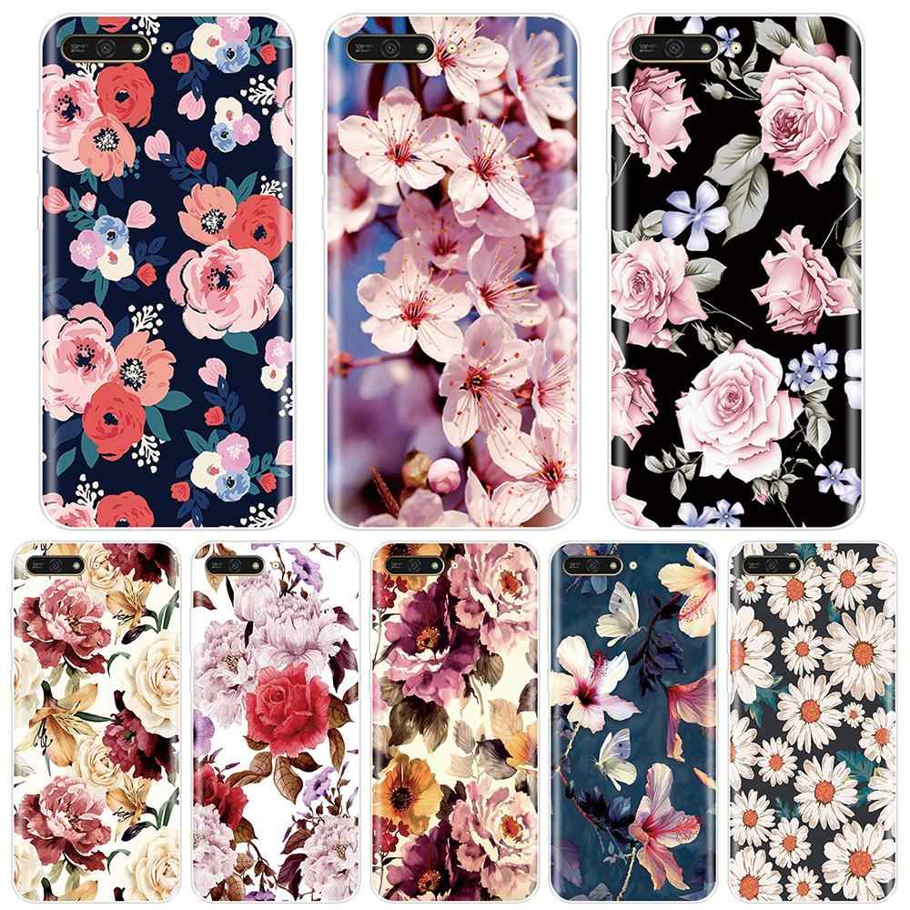 Soft Back Cover For Huawei Y5 Y6 Y7 Prime 2017 2018 Y9 2019 Cute Flower Floral Phone Case Silicone For Huawei Y3 Y5 Y6 II Y7 Pro