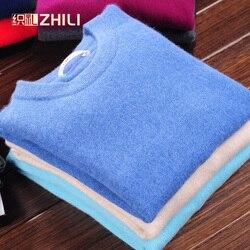 Hommes hiver col rond affaires cachemire mélange chandail tricoté pull automne décontracté & mode doux à manches longues tricots 100% Cashme