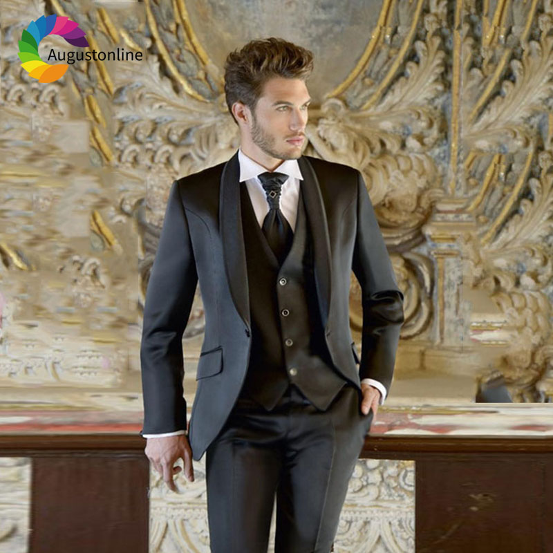 Custom Made Shawl Lapel Black Men Suits for Wedding Suits Blazer Jacket Slim Fit Groom Tuxedos Man Suits with Pants 3Piece Vest in Suits from Men 39 s Clothing
