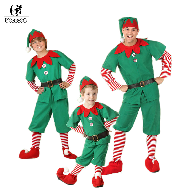 2019 New Style Rolecos Men Elf Christmas Costume Boy Green Dress Family Christmas Clothes Cosplay For Kids Family Christmas Outfits