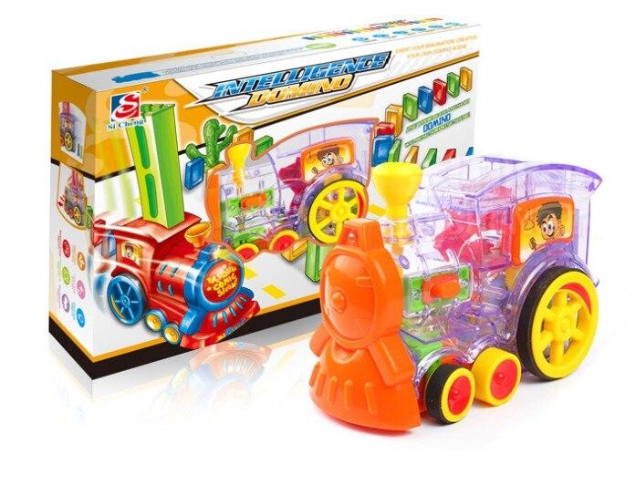 Модель автомобиля-поезда домино 22 см, игрушки с автоматическим наборами, 60 разноцветных блоков домино, игра с картриджем для загрузки, игруш...