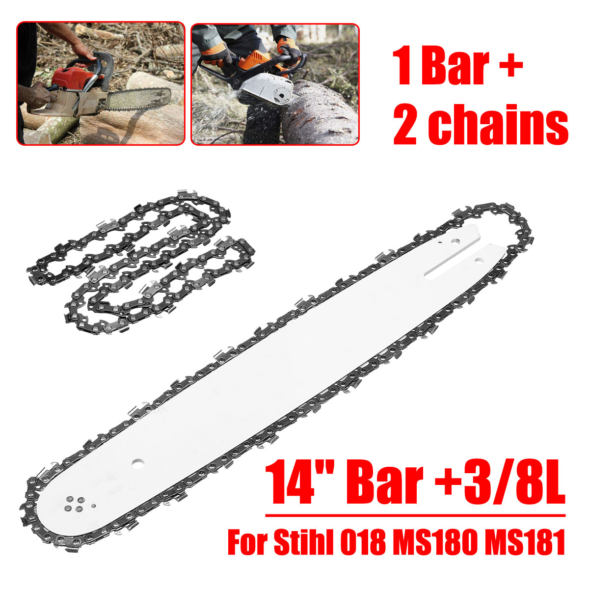 Doersupp 14 Bar +3/8L 2pcs Chains Fit For Stihl 018 MS180 MS181 Chainsaws Chain SawDoersupp 14 Bar +3/8L 2pcs Chains Fit For Stihl 018 MS180 MS181 Chainsaws Chain Saw