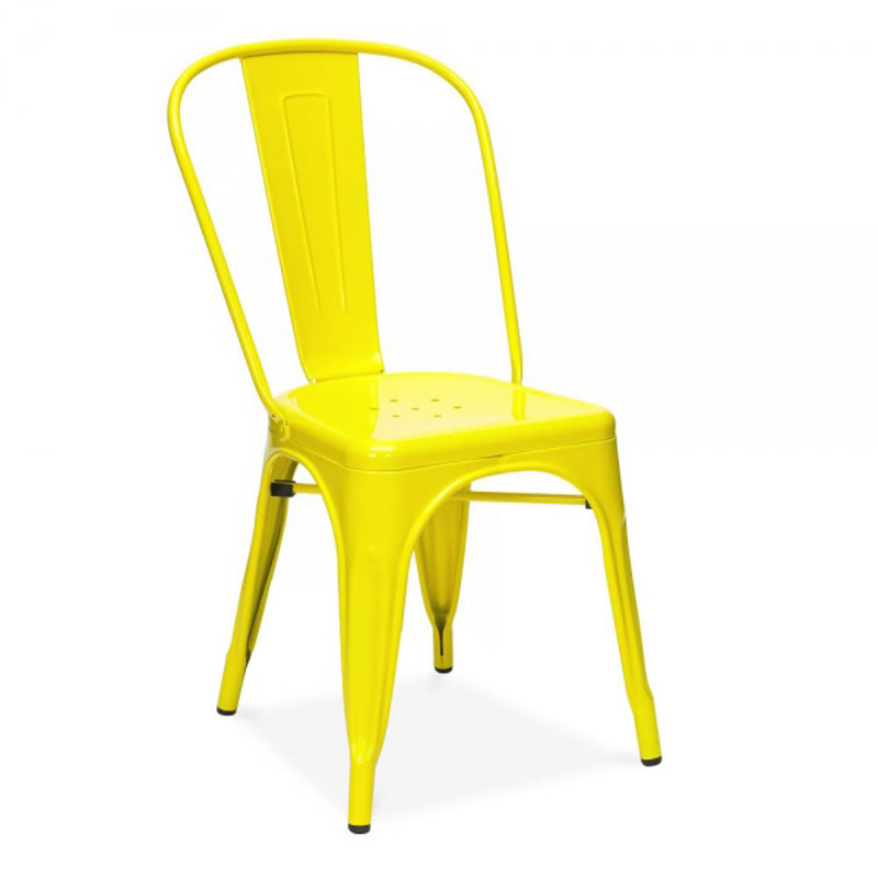 free shipping yellow powder coated side chair in dining chairs from