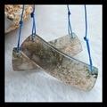 Natural stone Handmade strip Moss Agate Earrings,45*15*3mm 10g natural stone earrings