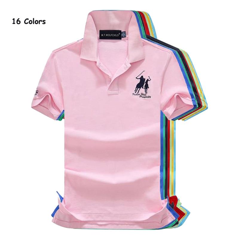 16 Colors 2018 Summer horsebrand New Mens short sleeve   polos   shirts cotton casual mens lapel   polos   fashion slim mens tops S-2XL