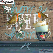 Dispaint Full Square/Round Drill 5D DIY Diamond Painting Teacup bird scenery Embroidery Cross Stitch 3D Home Decor Gift A18408