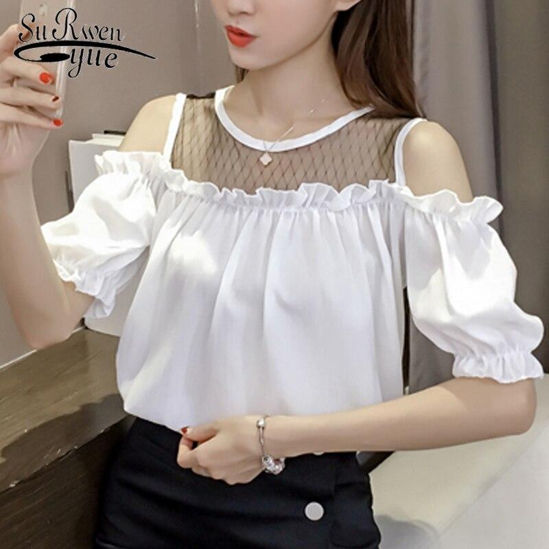 Blusas femininas elegante Мода 2019 плюс размеры для женщин белая блузка фонари рукавом шифон блузки женские топы и блузки для малышек 3469 50