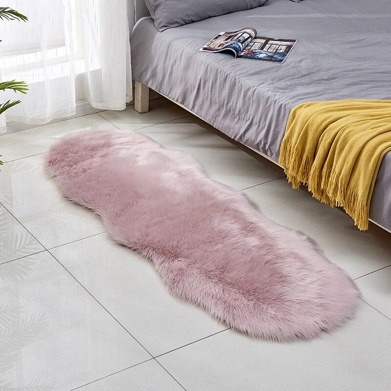Tapis ovale solide tapis en peluche moderne tapis moelleux blanc rose petits tapis pour la maison bain chambre enfant salon tapete para sala