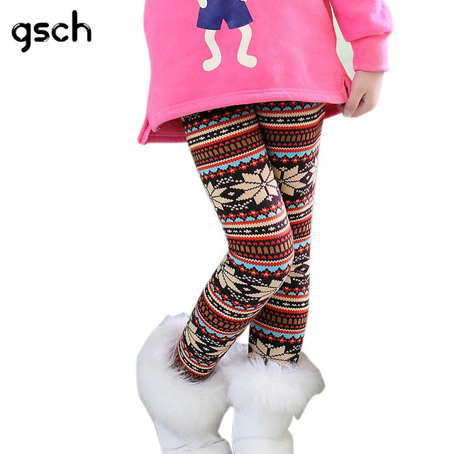 9af6b63f1 warm christmas leggings girl 2018 print girls leggings winter kids pants  plus velvet skinny thicken leggings