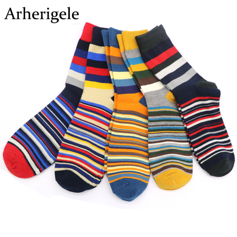 Arherigele Mens Socks With Striped Print Male Long Socks Colorful Mens Business Dress Socks Meias Homens Calcetines Hombre
