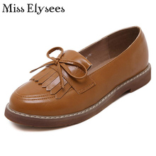 2017 Flat Shoes Woman Spring Autumn Pu Leather Platform Women Flats Tassel Quality Handmade Women Oxfords Leisure Women's Shoes