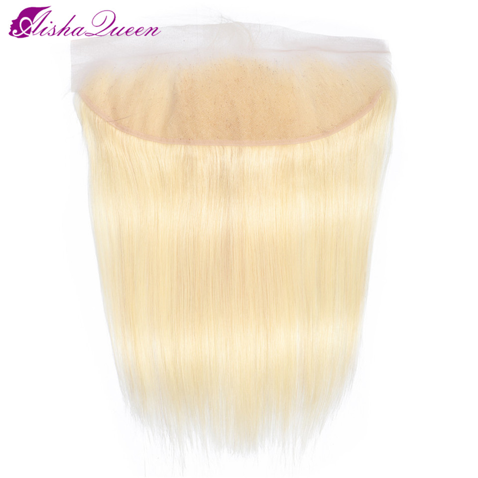 Aisha Queen Brazilian Straight Hair Closure 13*4 Lace Frontal Free Part 100% Remy Human Hair Closure 613 Blonde