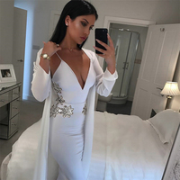 2017 Newest Summer Bandage Dress Women Celebrity Party White Spaghetti Strap V Neck Sequined Sexy Night