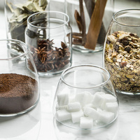 حياة بسيطة الزجاج زهرة الشاي المجففة الفاكهة الحلوى ميسون جرة تخزين زجاجة الحبوب الغذائية
