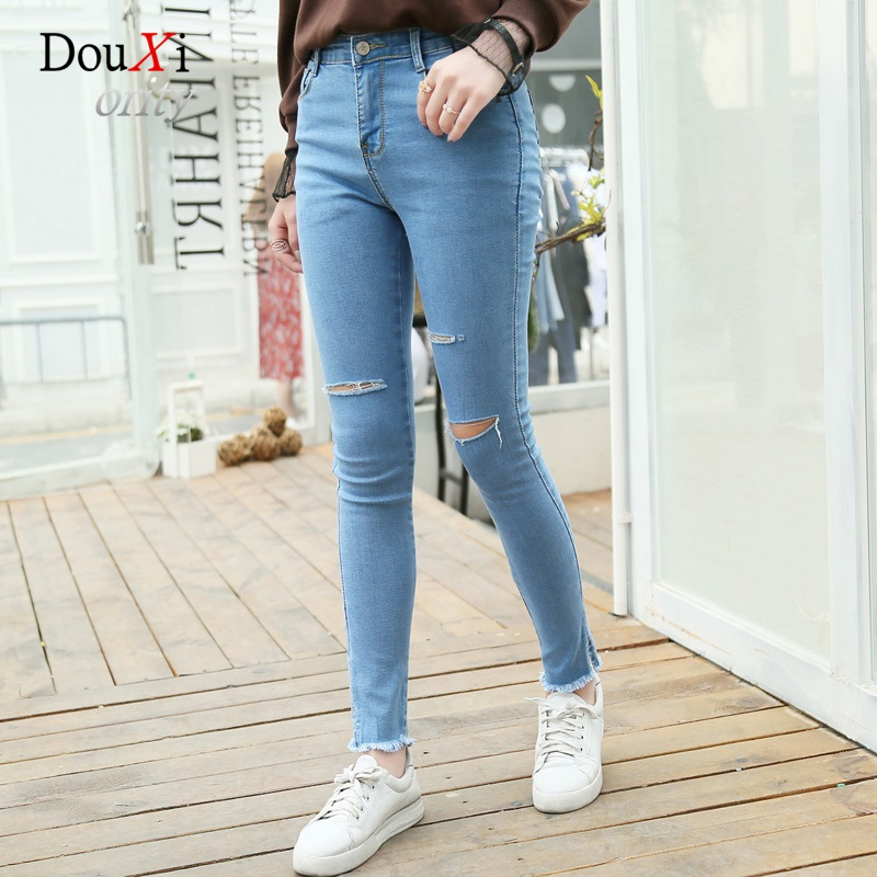 2017 New Jeans For Women High Waist Stretch Hole Pencil Pants Ankle-length With Tassel Casual Skinny Slim Female Denim Trousers rosicil new women jeans low waist stretch ankle length slim pencil pants fashion female jeans plus size jeans femme 2017 tsl049