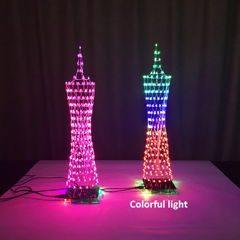 Colorful LED Tower Display Lamp Infrared Remote Control Electronic DIY Kits Music Spectrum Soldering Kits DIY Brain-training ToyColorful LED Tower Display Lamp Infrared Remote Control Electronic DIY Kits Music Spectrum Soldering Kits DIY Brain-training Toy