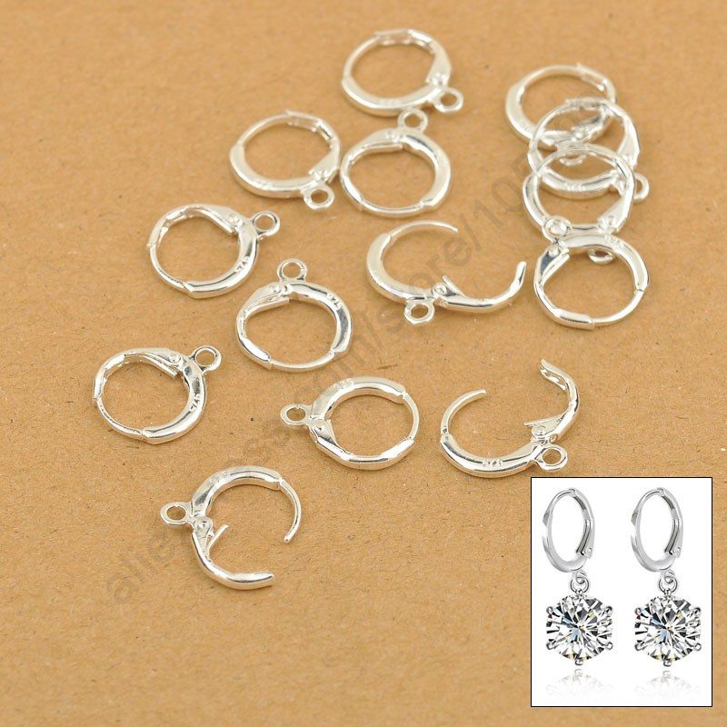 Hoop Drop Earrings Jewelry Findings 20PCS(10Pair) Real Pure 925 Sterling Silver Jewellery Leverback Ear Earwires 12MM