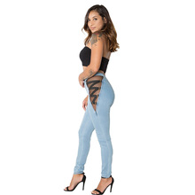 Women Denim Pencil Pants Sexy Mesh Bandage  Jeans Fashion Female Hollow Out Long Hot Sale