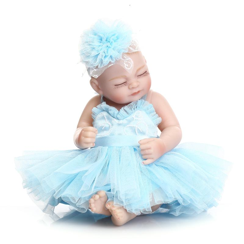 Mini NPK Bebe Reborn Doll Imitation dolls baby soft glue cute Blue princess skirt bathing doll 11 inch silicone Baby Alive Toys
