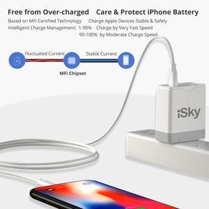 Image 4 - Кабель iSky MFi с разъемами типа C и Lightning для iPhone, сертифицированный кабель 11X8 7 6 5 XR XsMax Pro PD для быстрой зарядки, C94 MFi, синхронизация данных для Macbook