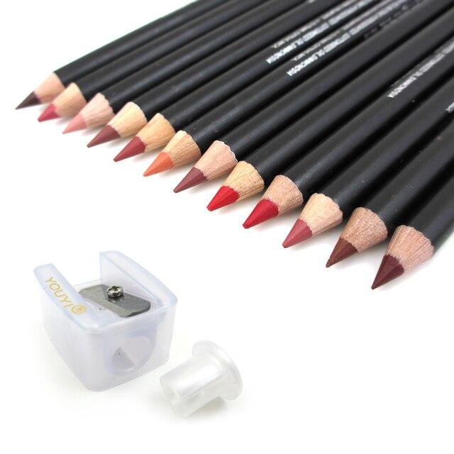 12 шт. hot моды прочного влаги для губ водонепроницаемый губ придерживайтесь карандаш 12 цвет и точилка для карандашей