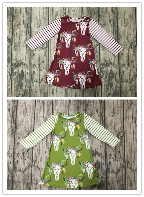 baby kids Fall / Autumn dress girls Christmas dress reindeer dress girls milk silk dress top dress kids waer long sleeve dress