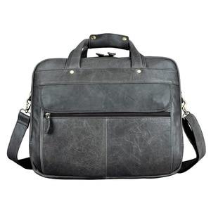 Image 4 - Erkek yağ balmumu deri antika tasarım iş evrak çantası dizüstü evrak çantası moda ataşesi askılı çanta Tote portföyü 7146