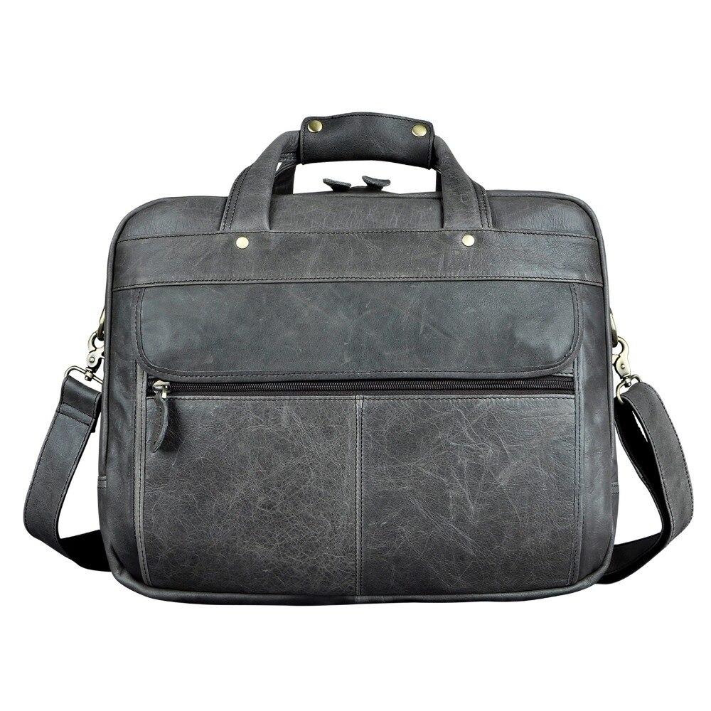Hommes huile cireuse en cuir Antique Design mallette d'affaires ordinateur portable porte-documents mode Attache Messenger sac fourre-tout portefeuille 7146 - 4