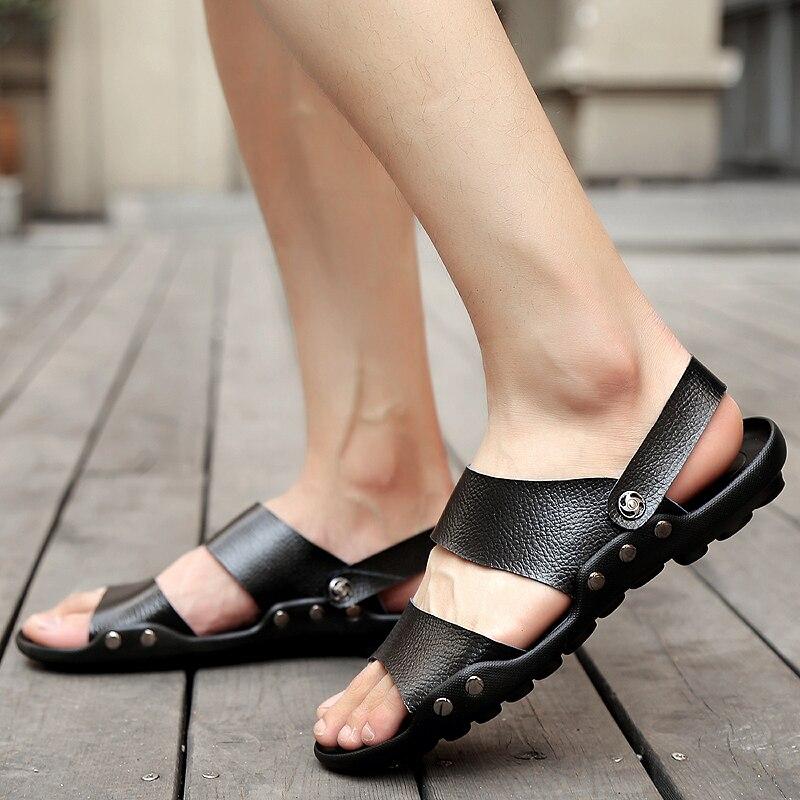 Image 5 - Grande taille hommes en cuir sandales mode respirant mâle chaussures dété hommes chaussures de plage plage sandales pantoufles livraison directeSandales homme   -