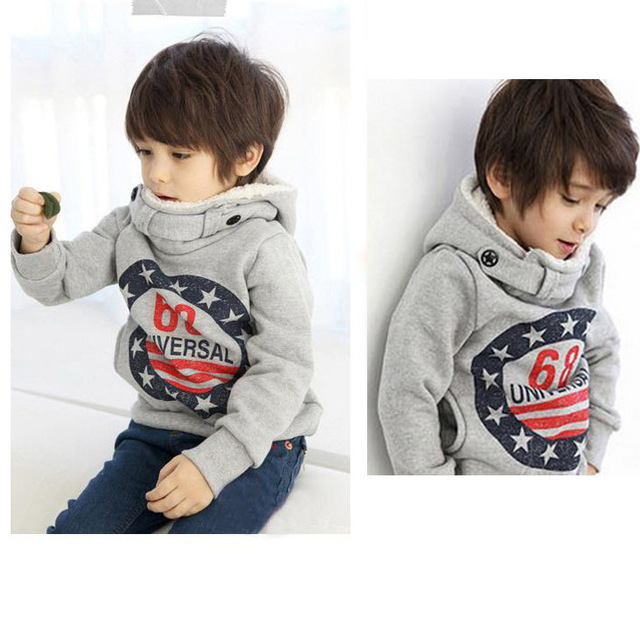 2cf57465 Retail children's winter fleece Korean version Autumn 68 thick cotton  cashmere sweater hooded sweater The boy girl dress free