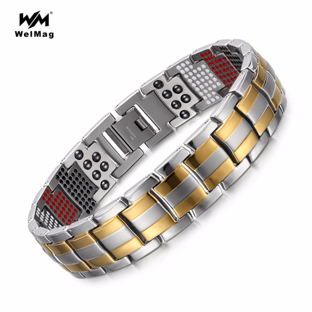 Welmag moda jóias cura abeto magnético pulseiras de titânio bio energia pulseira para homem pressão arterial acessório pulseira
