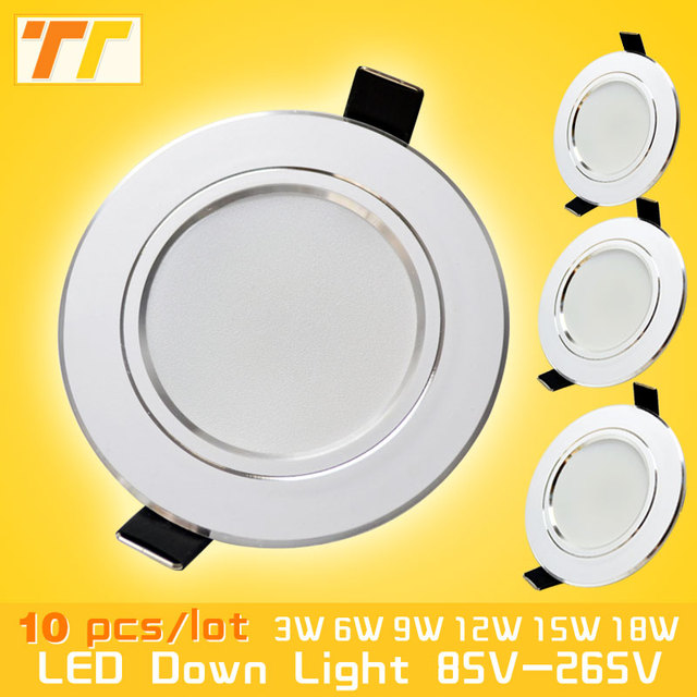 10 pcs lot led downlight lamp 3w 5w 7W 9w 12w 15w 18w 230V 110V ceiling secret placed downlights round led panel set fire to free shipping.