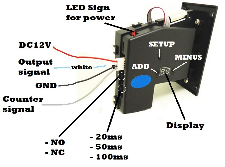 For hight current load coin operated time control device for cafe kiosk, multi coin selector with timer board and reset counter