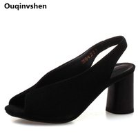 Ouqinvshen Peep Toe Black Jelly Shoes Woman Casual Fashion Shallow Concise Kid Suede Summer Shoes Round Heels Women Sandals